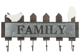 UTC35162 Wood Rectangle Wall Hanger with Top Birds and Cutout Galvanized Family Writing Design, Metal Bottom Hooks and Triangular Back Hangers Natural Finish Dark Brown