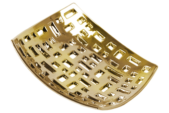 UTC35303 Ceramic Square Concave Tray with Perforated Design Polished Chrome Finish Gold