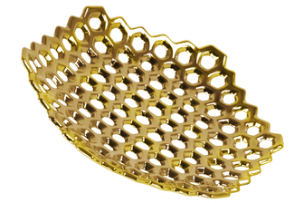 UTC35305 Ceramic Hexagon Concave Tray with Perforated Design Polished Chrome Finish Gold