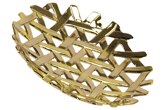 UTC35307 Ceramic Round Concave Tray with Perforated and Lattice Design Polished Chrome Finish Gold