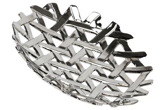 UTC35308 Ceramic Round Concave Tray with Perforated and Lattice Design Polished Chrome Finish Silver
