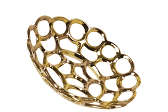 UTC35309 Ceramic Round Concave Tray with Perforated and Chainlink Design SM Polished Chrome Finish Gold
