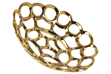 UTC35311 Ceramic Round Concave Tray with Perforated and Chainlink Design LG Polished Chrome Finish Gold