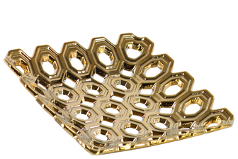 UTC35313 Ceramic Square Concave Tray with Perforated Circle Design Polished Chrome Finish Gold