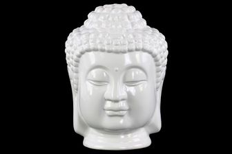 UTC35405 Ceramic Buddha Head with Beaded Ushnisha Gloss Finish White