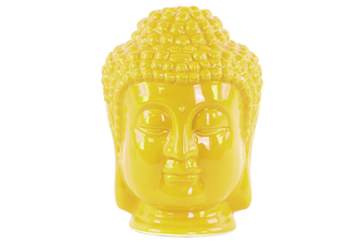 UTC35407 Ceramic Buddha Head with Beaded Ushnisha Gloss Finish Yellow
