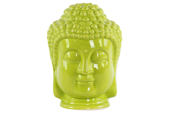 UTC35408 Ceramic Buddha Head with Beaded Ushnisha Gloss Finish Green