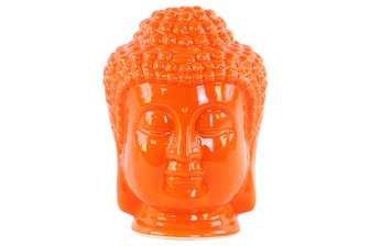UTC35409 Ceramic Buddha Head with Beaded Ushnisha Gloss Finish Orange
