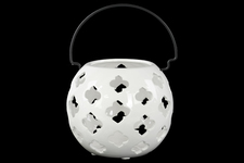 UTC35504 Porcelain Spherical Lantern with Cutout Design and Metal Handle LG Gloss Finish White