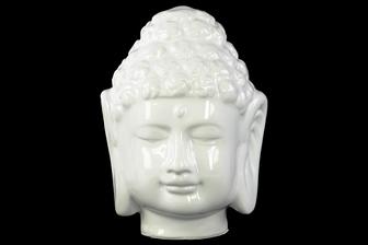 UTC35508 Porcelain Buddha Head with Beaded Ushnisha Gloss Finish White