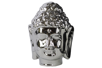 UTC35509 Porcelain Buddha Head with Beaded Ushnisha Polished Chrome Finish Silver