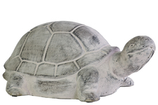 UTC35700 Terracotta Turtle Figurine with Baby Turtle Top Washed Finish Gray