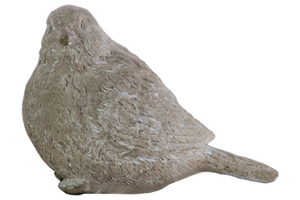 UTC35702 Terracotta Perching Bird Figurine Washed Finish Gray