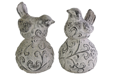 UTC35704-AST Terracotta Bird Figurine with Swirl Design on Ball Pedestal Assortment of Two Washed Finish Gray