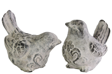 UTC35705-AST Cement Bird Figurine with Swirl Design Assortment of Two Washed Finish Gray