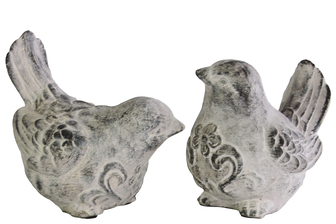 UTC35705-AST Terracotta Bird Figurine with Swirl Design Assortment of Two Washed Finish Gray