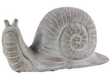 UTC35706 Cement Snail Figurine Washed Finish Gray