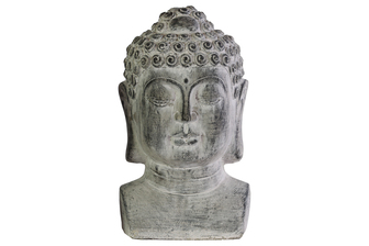 UTC35707 Cement Buddha Head with Beaded Ushnisha on Base LG Washed Finish Gray