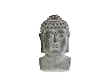 UTC35708 Terracotta Buddha Head with Beaded Ushnisha on Base SM Washed Finish Gray