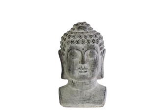 UTC35708 Cement Buddha Head with Beaded Ushnisha on Base SM Washed Finish Gray