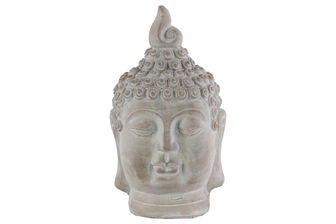 UTC35711 Cement Buddha Head with Pointed Ushnisha Washed Finish Gray