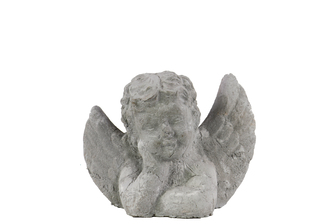 UTC35713 Cement Cherub Bust Leaning on Hand SM Washed Finish Gray