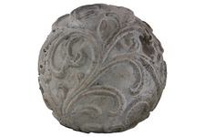 UTC35715 Cement Ornamental Sphere with Embossed Swirl Design LG Washed Finish Gray