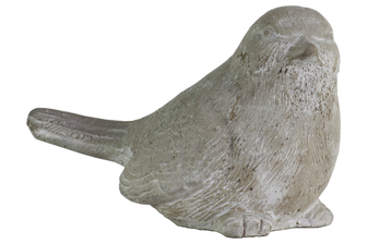 UTC35721 Cement Sitting Bird Figurine with Head Upward Concrete Finish Gray