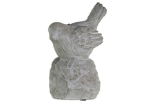 UTC35722 Cement Sitting Bird Figurine with Head Downward on Base Concrete Finish Gray