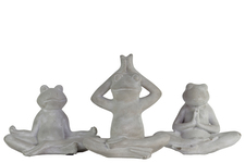 UTC35724-AST Cement Frogs Figurine in Assorted Yoga Positions Assortment of Three Concrete Finish Gray