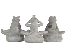 UTC35725-AST Cement Frogs Figurine in Assorted Yoga Positions on Round Base Assortment of Three Concrete Finish Gray