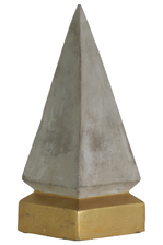 UTC35742 Cement Pyramid Figurine on Coated Gold Square Base LG Concrete Finish Gray