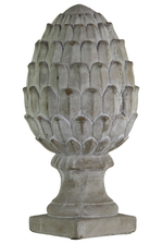 UTC35744 Cement Artichoke Figurine on Base LG Concrete Finish Gray