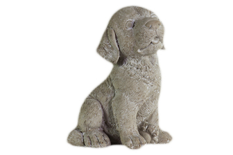 UTC35746 Cement Sitting Labrador Dog Figurine with Tongue Out Concrete Finish Gray