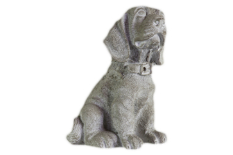 UTC35747 Cement Sitting Beagle Dog Figurine with Collar Concrete Finish Gray