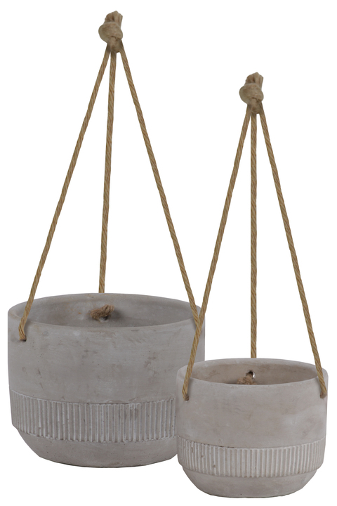 UTC35749 Cement Round Pot with Rope Hanger, Ribbed Banded Rim Bottom and Tapered Bottom Set of Two Washed Concrete Finish Gray