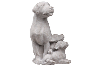 UTC35752 Cement Sitting Beagle Dog Statue with Puppies Washed Finish Gray