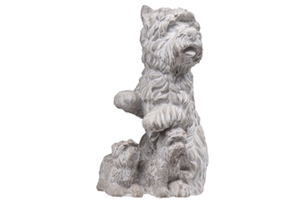 UTC35753 Cement Sitting Cairn Terrier Dog Statue with Puppies Washed Finish Gray