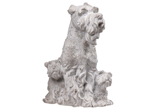 UTC35754 Cement Sitting Scottish Terrier Dog Statue with Puppies Washed Finish Gray