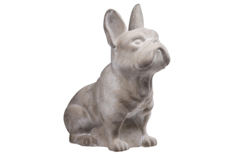 UTC35755 Cement Sitting French Bulldog Statue Washed Finish Gray