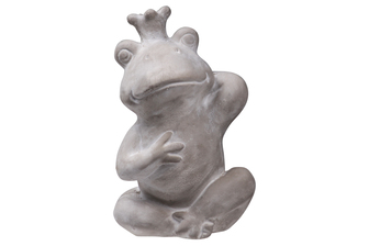 UTC35756 Cement Sitting Crowned Frog Statue Washed Finish Gray