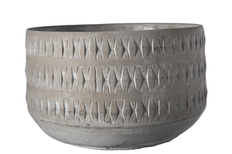 UTC35766 Cement Round Pot with Embossed Tribal Pattern Design Body and Tapered Bottom Natural Finish Gray