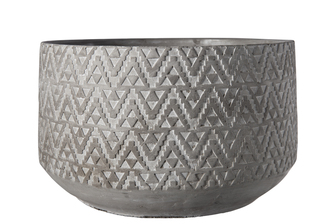 UTC35767 Cement Round Pot with Embossed Triangular Tribal Pattern Design Body on Base Natural Finish Gray