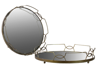 UTC36032 Metal Round Tray with Metal Handles and Mirror Surface Set of Two Metallic Finish Gold