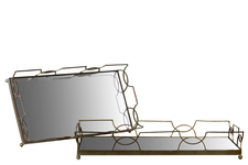 UTC36033 Metal Rectangular Tray with Metal Handles and Mirror Surface Set of Two Metallic Finish Gold