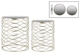 UTC36102 Metal Round Nesting Accent Table with Mirror Top and Round Base Set of Two Metallic Finish Champagne