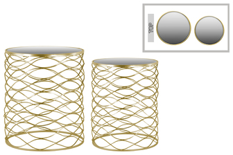 UTC36103 Metal Round Nesting Accent Table with Mirror Top and Round Base Set of Two Metallic Finish Gold