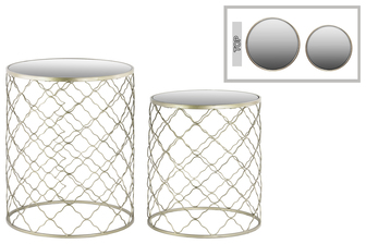 UTC36104 Metal Round Nesting Accent Table with Mirror Top and Round Base Set of Two Metallic Finish Champagne