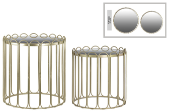 UTC36111 Metal Round Nesting Accent Table with Mirror Top, Linear Design and Round Base Set of Two Metallic Finish Champagne