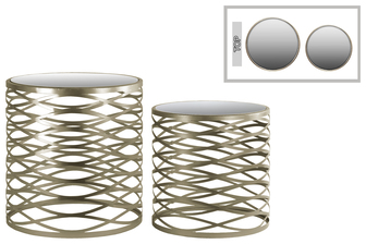 UTC36119 Metal Round Nesting Accent Table with Mirror Top, Criss-cross Design and Round Base Set of Two Metallic Finish Champagne
